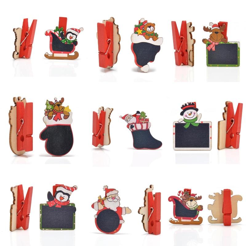 1lot 6pcs cute mini blackboard cartoon wooden christmas for Decoration clips