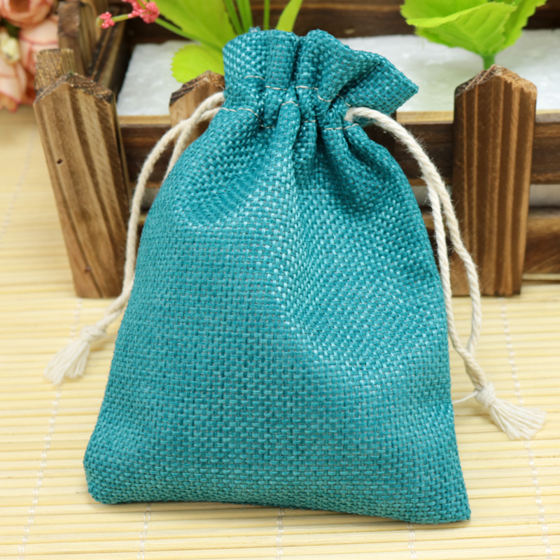 d4b9cd75dd 10pcs/lot 13*18cm Lake Blue Jute Bag burlap Drawstring Bags Candy Gift  Beads Jewelry Bags For Storage/ Wedding Decoration-in Gift Bags & Wrapping  Supplies ...