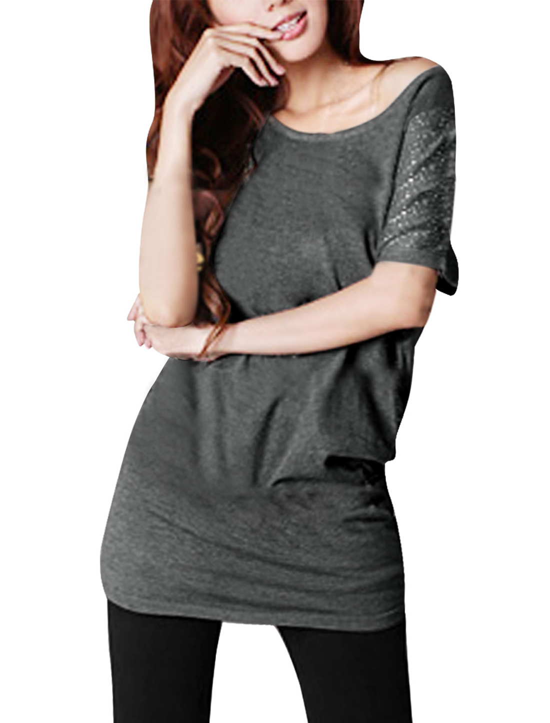4fa9541aba6 Allegra K Women Clear Crystal Decor Scoop Neck Bat Sleeve Tunic Shirt-in  T-Shirts from Women s Clothing on Aliexpress.com