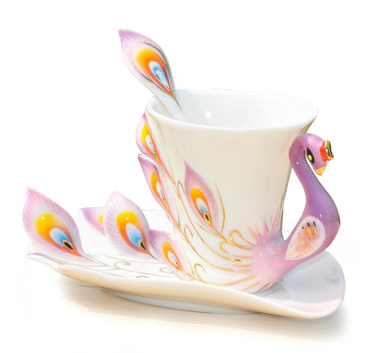 Ceramic Peacock Mug Coffee Cup Elegent Porcelain Tea Cup Set With Saucer  Tray Spoon Purple In Mugs From Home U0026 Garden On Aliexpress.com | Alibaba  Group