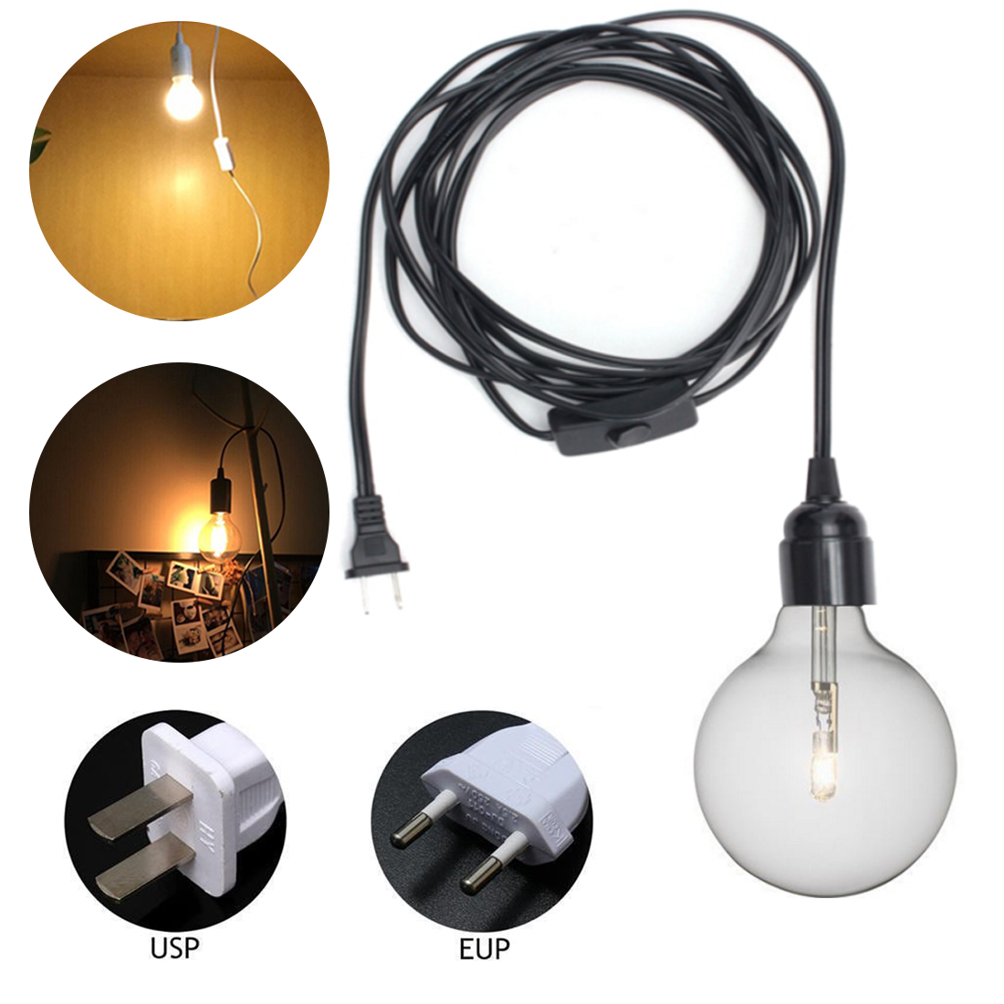 1.5m Power Cord Cable E27 Lamp Bases EU/US Plug With Switch Wire For Pendant LED Bulb E27 Hang Lamp Suspension Socket Holder