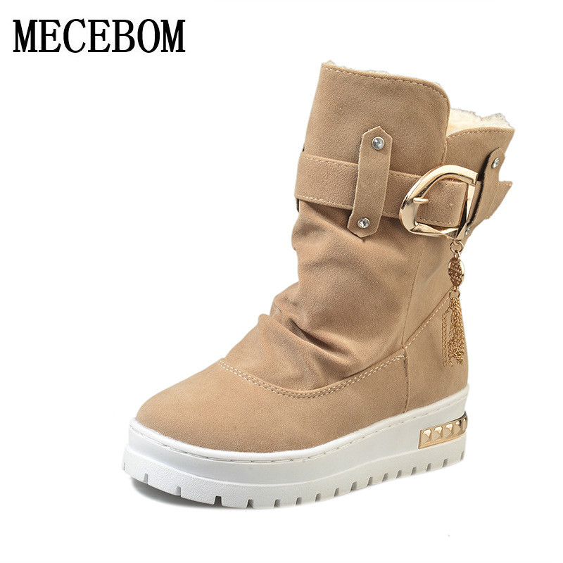 Hot Sale Shoes Women Boots Solid Slip-On Soft Cute Women Snow Boots Round Toe Flat with Winter Fur warm Ankle Boots L89W 2017 new arrival hot sale women boots solid bowtie slip on soft cute women snow boots round toe flat with winter shoes wsz31