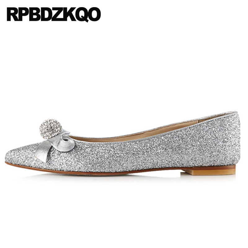 4d40d15c07d 10 11 Glitter Sequin Rhinestone Size 43 Party Crystal Bow Large Women Dress  Shoes Wedding Pointed Toe Flats Silver Diamond 2018