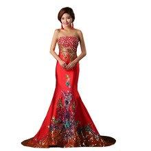 Rot Orientalischen Abendkleid mit Steinen Pfau Muster Mermaid Satin Damen Formale Kleid
