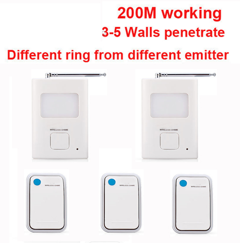200m work ring bell w/ 3 emitters+2 receivers music doorbell wireless doorbell,wireless door chime bell 36 music door bell ks v2 welcom chime bell sensor