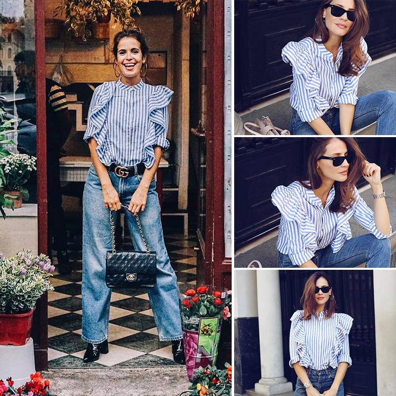 HTB1xaAYPVXXXXbeapXXq6xXFXXXv - Blue Frilled Blouse Striped Long Sleeve Shirt Women Casual