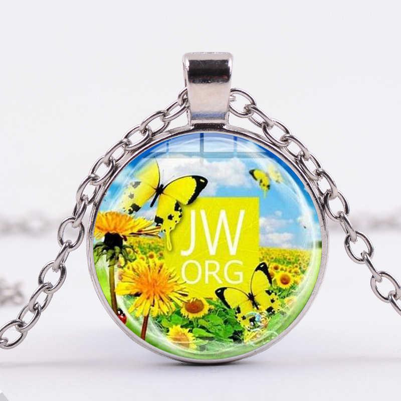 Collar SONGDA JW. Orgn a la moda de los testigos de Jesucristo y romántico elegante mariposa Flor de cristal imagen cabujón colgante JW joyería
