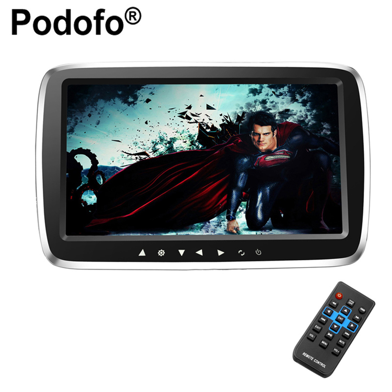 Podofo 9 Ultra-thin Car Headrest Monitor DVD Display Screen MP5 KTV Music Player Support 1080PHD Movies with Touch Buttons car headrest 2 pieces monitor cd dvd player autoradio black 9 inch digital screen zipper car monitor usb sd fm tv game ir remote