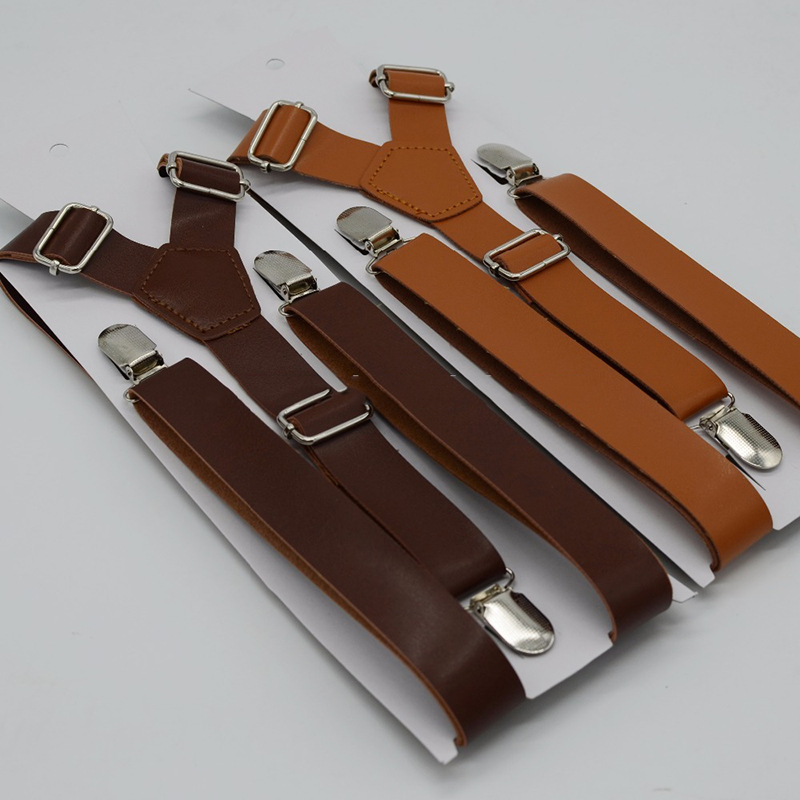 PU Suspenders Adult Size 2.5 Cm Width 120 Cm Length Brace 3 Clips Synthetic Leather Material Women 's Suspenders Solid Pattern