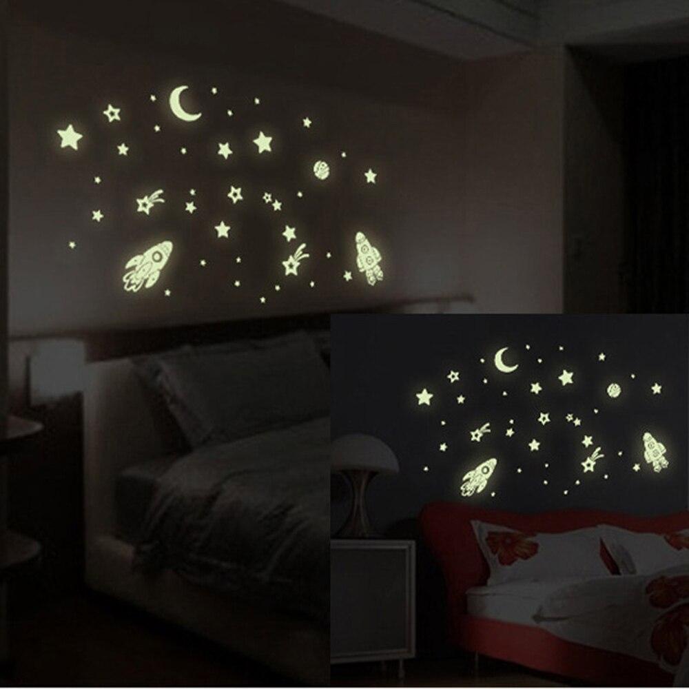 Brillan En La Oscuridad Estrellas Dirigible Extraíble Decoración Del Arte Del Vi