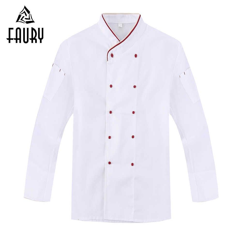 Białe podwójne piersi nowa koszulka z długim rękawem kurtki szefa kuchni Hotel Cafe kelner odzież robocza kuchnia Cook Wear topy odzież kombinezony 3XL