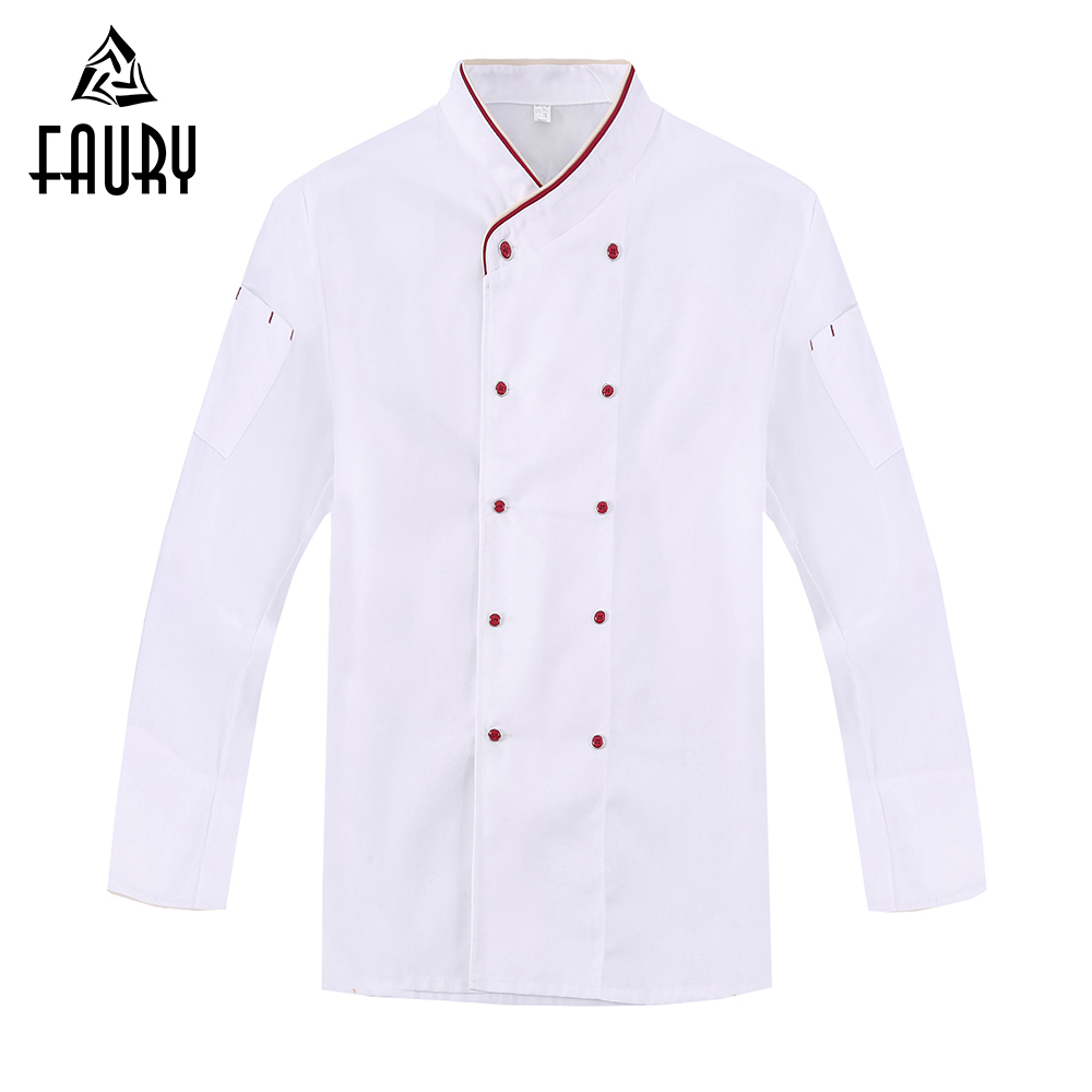 White Double Breasted New Long Sleeve Chef Jackets Hotel Cafe Waiter Work Uniforms Kitchen Cook Wear Tops Clothing Overalls 3XL