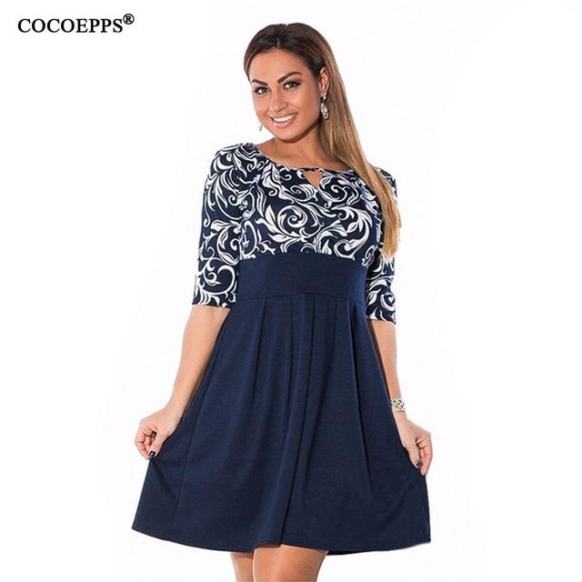 598e118ace63 Elegante 2019 plus size roupas femininas vestido L-6xl Outono impressão  Vestido mulheres patchwork vestidos