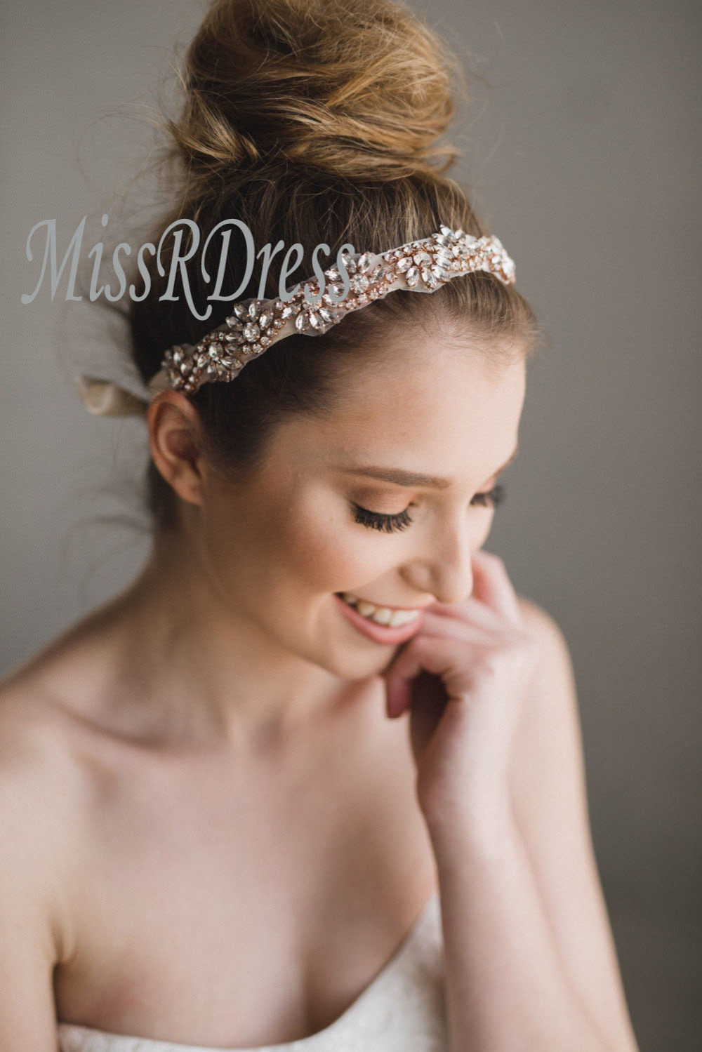 MissRDress Bridal Rhinestone Headband Beads Rose Crystal Wedding Headwear Bright Wedding headband Bridal headpiece ys816