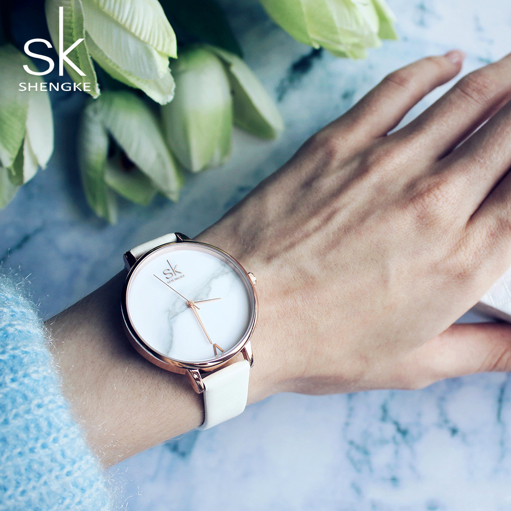 Shengke Creative Marble Dial Women Leather Watches Luxury Quartz Watch Female Clock Reloj Mujer 2018 SK Women Wrist Watch #K0039 shengke brand fashion watches women casual leather strap female quartz watch reloj mujer 2018 sk women wrist watch k8025