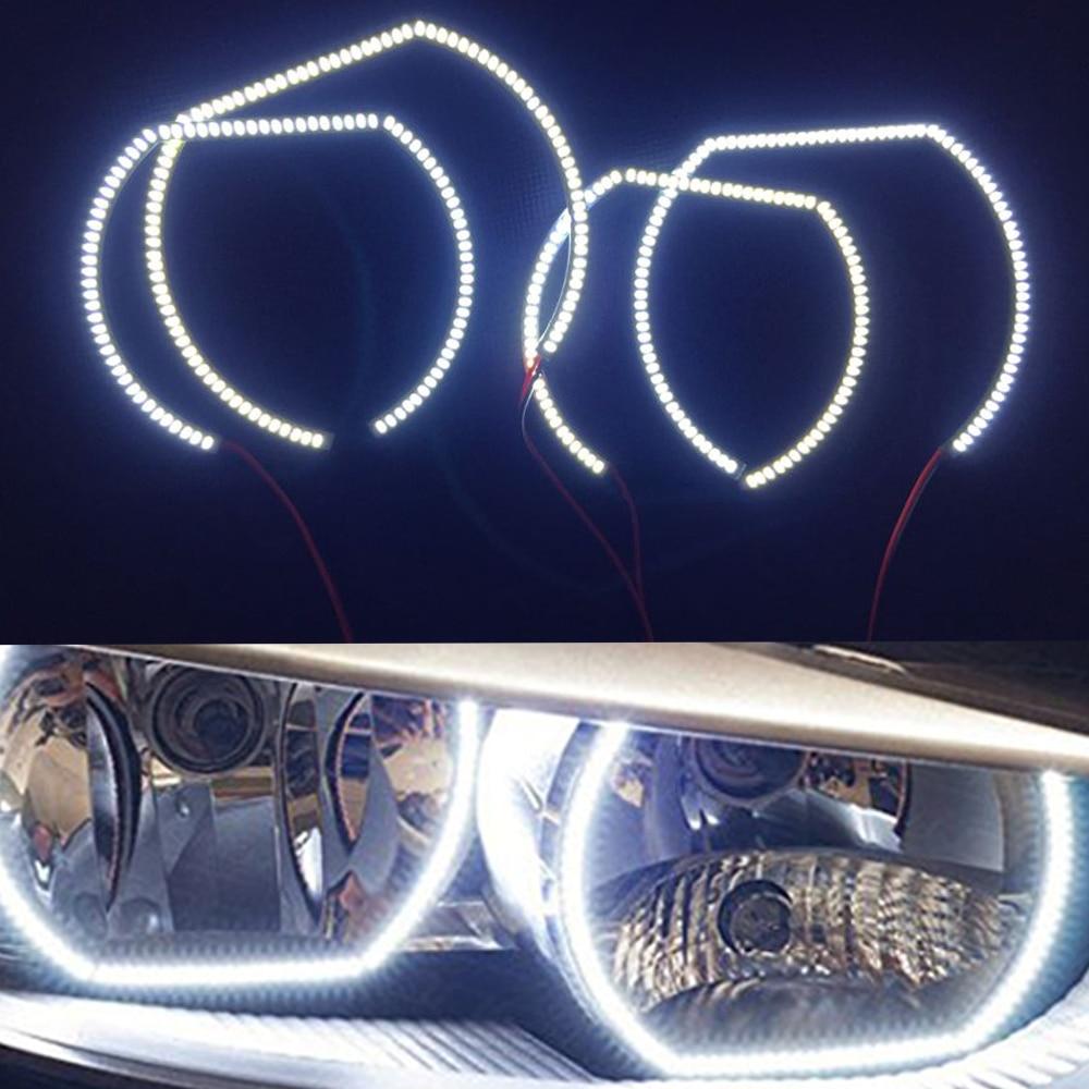 7000К ксенон квадратный Белый Стиль 3014SMD из светодиодов гало кольца для BMW f30 3 серии Галогенные фары Ангел глаз кольцо комплект