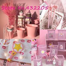 Japan Magic Sakura Sailor Moon Pen holder Bucket Portable Mirror Mini Night light Toy Party Birthday Favors Supplies Girl Gifts(China)