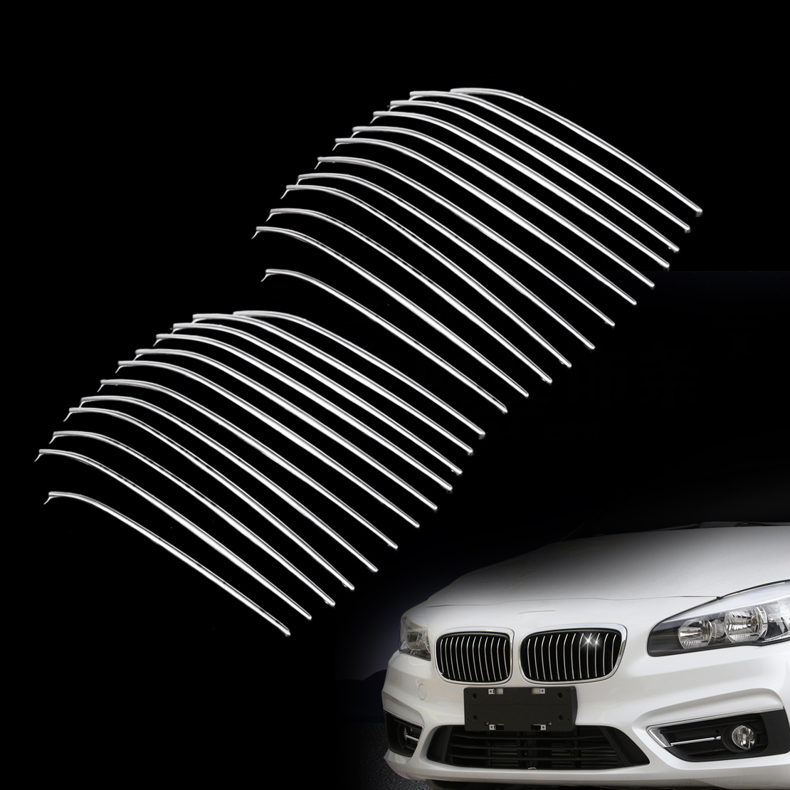 DWCX 24x Car Styling Chrome Plastic Plated Front Bumper Kidney Hood Grill Grille Cover Trim for 12 Bar BMW 218i 220i 2015 2016