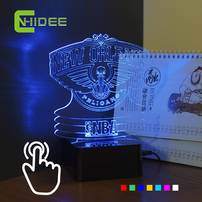 ФОТО CNHIDEE USB Novelty Colourful RGB Night Lights Led Touch Table Lamp for Pelican NBA Team Basketball Lampara as Bedroom Decor
