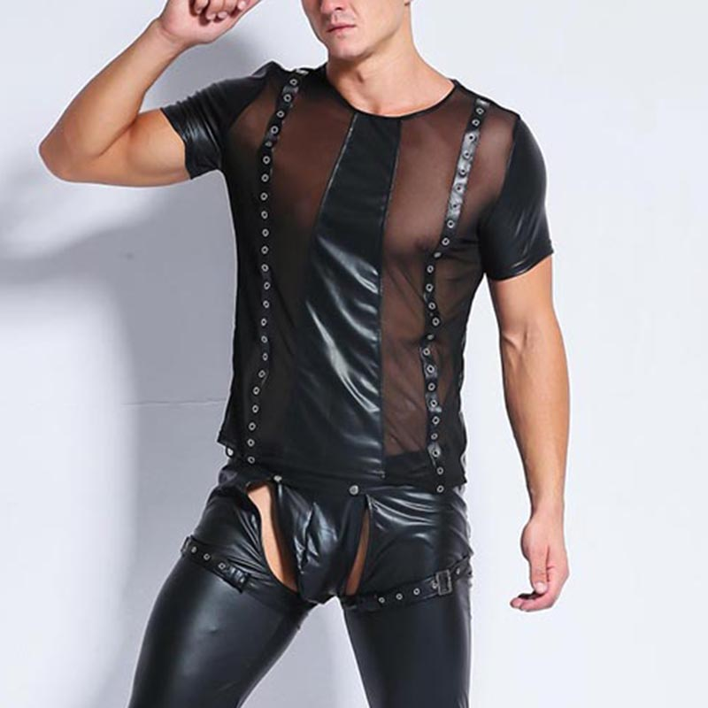 Erotiski vīriešu, melnas mākslīgās ādas apakšveļas tops ar - Jaunums