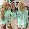 New Arrival Solid Color Chiffon Blouse Womens Back Zipper Turn-Down Collar Long Sleeve Tops Asymmetrical Length Blusas Shirts