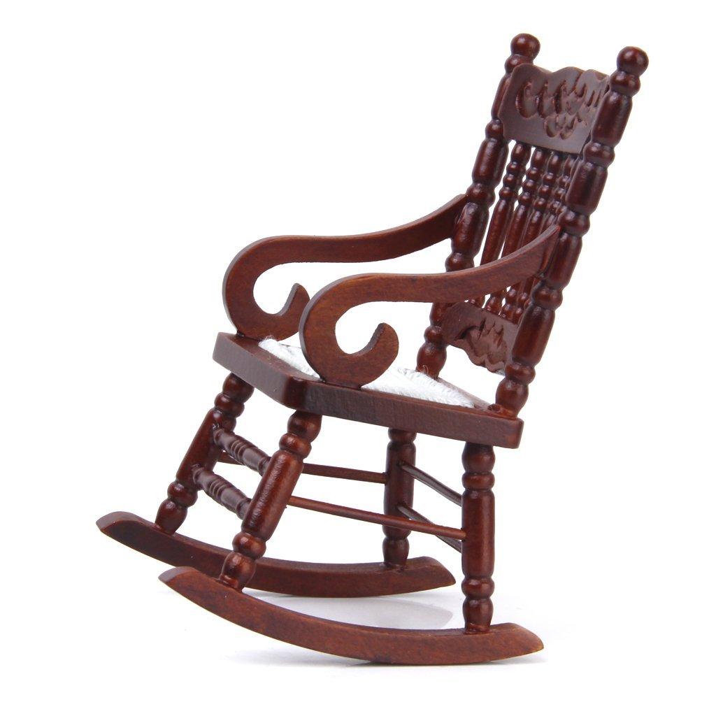 1:12 Miniature Wooden Cabinet Rocker Chair Model of Brown Wristbands Dollhouse Furniture Rocking chair