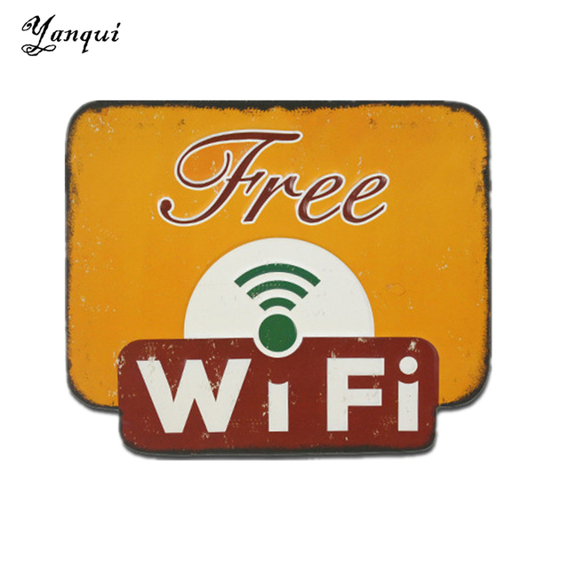 Yellow Free Wifi Metal Tin Signs Retro Irregular Shape Painting ...