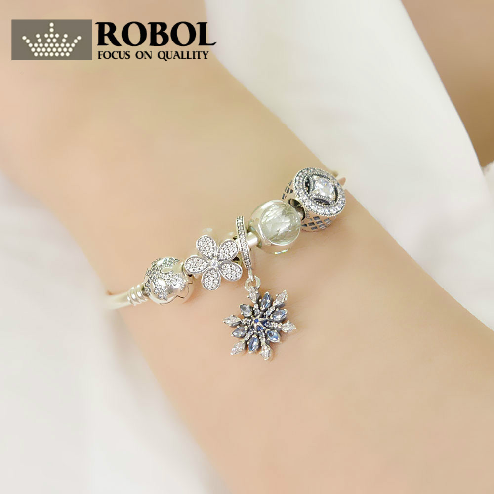 ROBOL Genuine 100% 925 Sterling Silver Bracelet For Set Women Classic snowflakes birthday Gift  charm Bead Jewelry DIY bangleROBOL Genuine 100% 925 Sterling Silver Bracelet For Set Women Classic snowflakes birthday Gift  charm Bead Jewelry DIY bangle