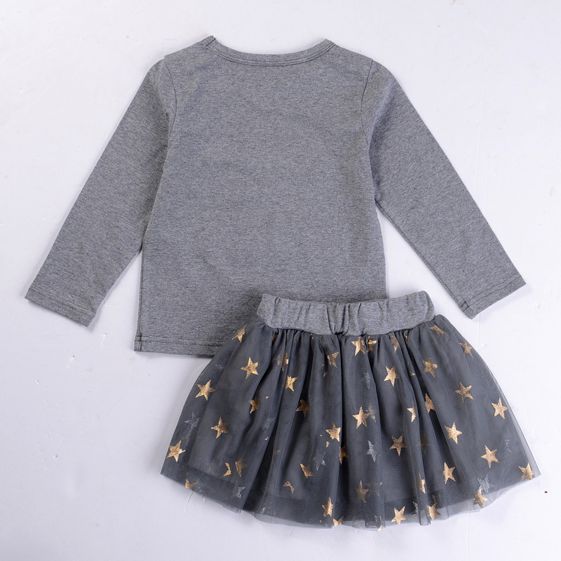 New Girls Suits Embroidery Sequins Long Sleeve+Stars Skirt Baby Girl Clothes Set For Kids Girl Autmn Children Clothing Sets