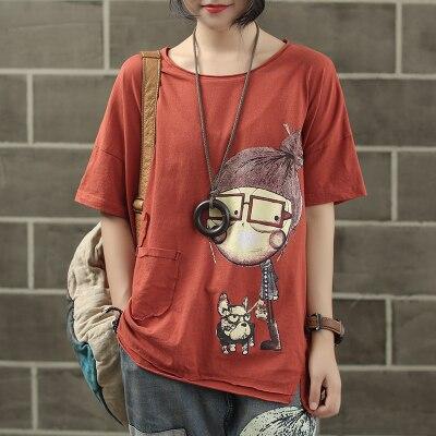 Женская модная брендовая летняя винтажная Лоскутная футболка с принтом собачки из мультфильма для маленькой девочки, Милая Короткая Женская Повседневная футболка - Цвет: Brick red
