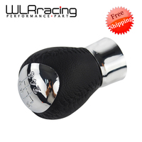 WLR FR SHIPPING Chrome Manual 6 Speed Leather Gear Shift Knob For Mazda 6 Mazda 5