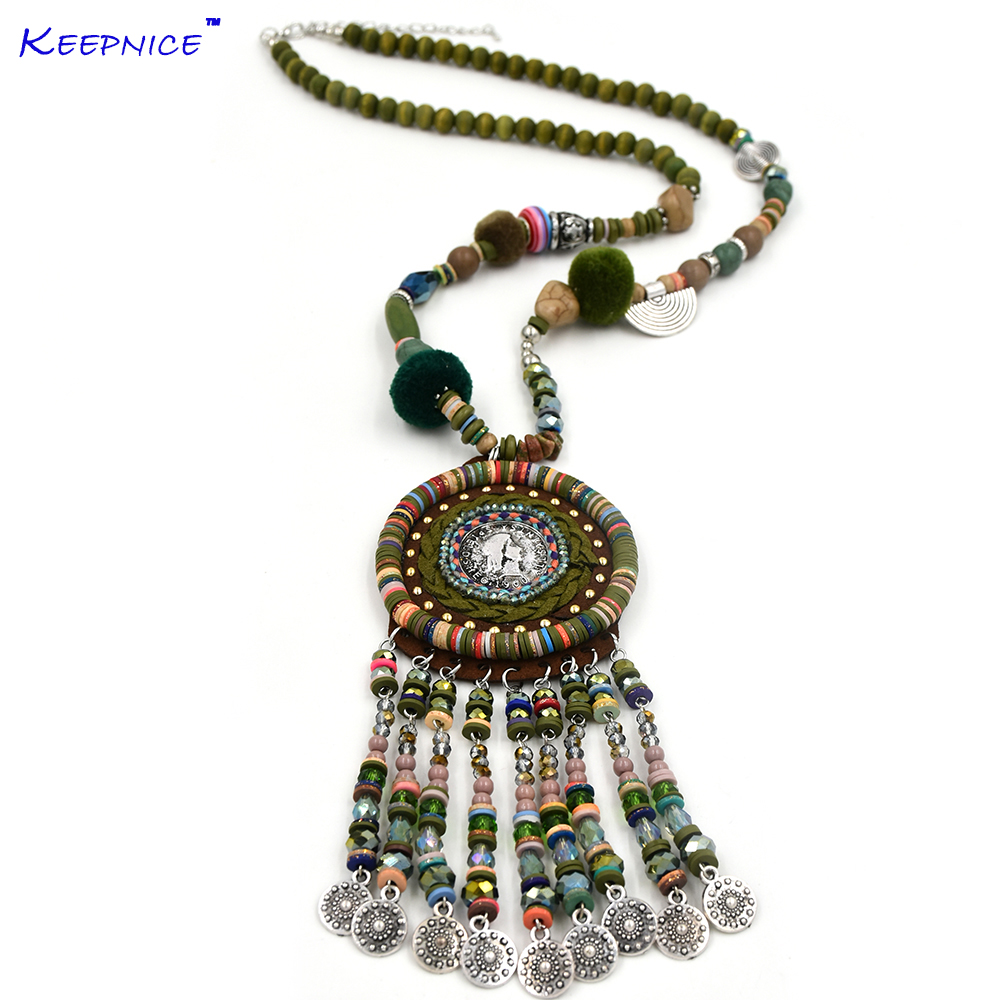 Chunky Boho Statement Necklace Trendy Long Colorful