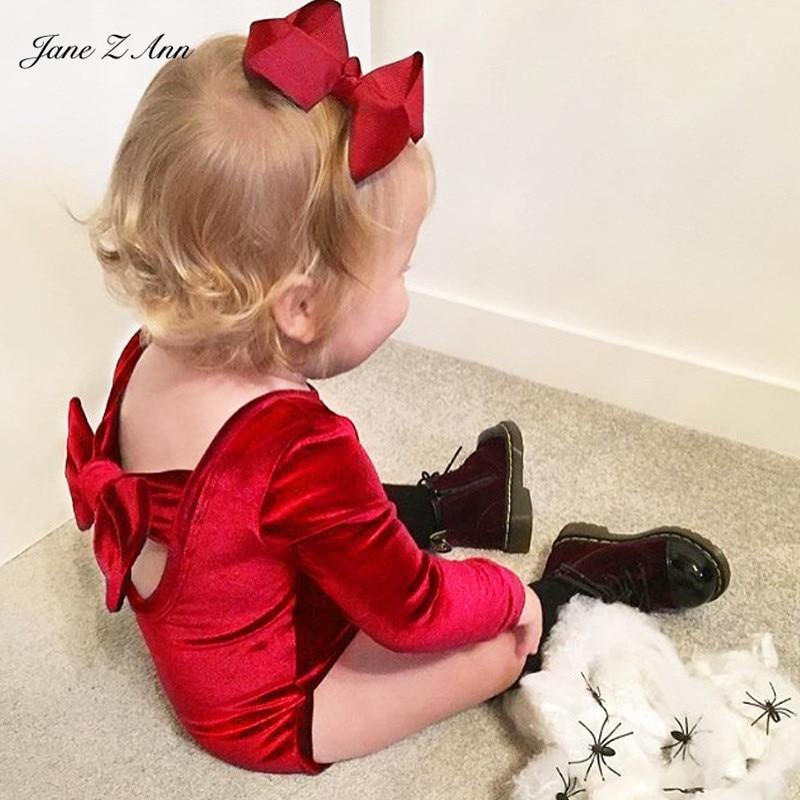 Jane Z Ann Onesie baby ins velvet series infant toddler girl long sleeve bow tie bodysuit child autumn dancing photo outfit