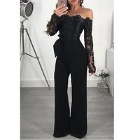 lace embroidery sexy off shoulder backless jumpsuit women body feminino romper bodysuit lace top wide leg jumpsuits long sleeve