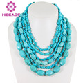 New Amazing!Natural Blue Turquoise Necklace Multi Strand Necklace With Turquoise Free Shipping AJS047