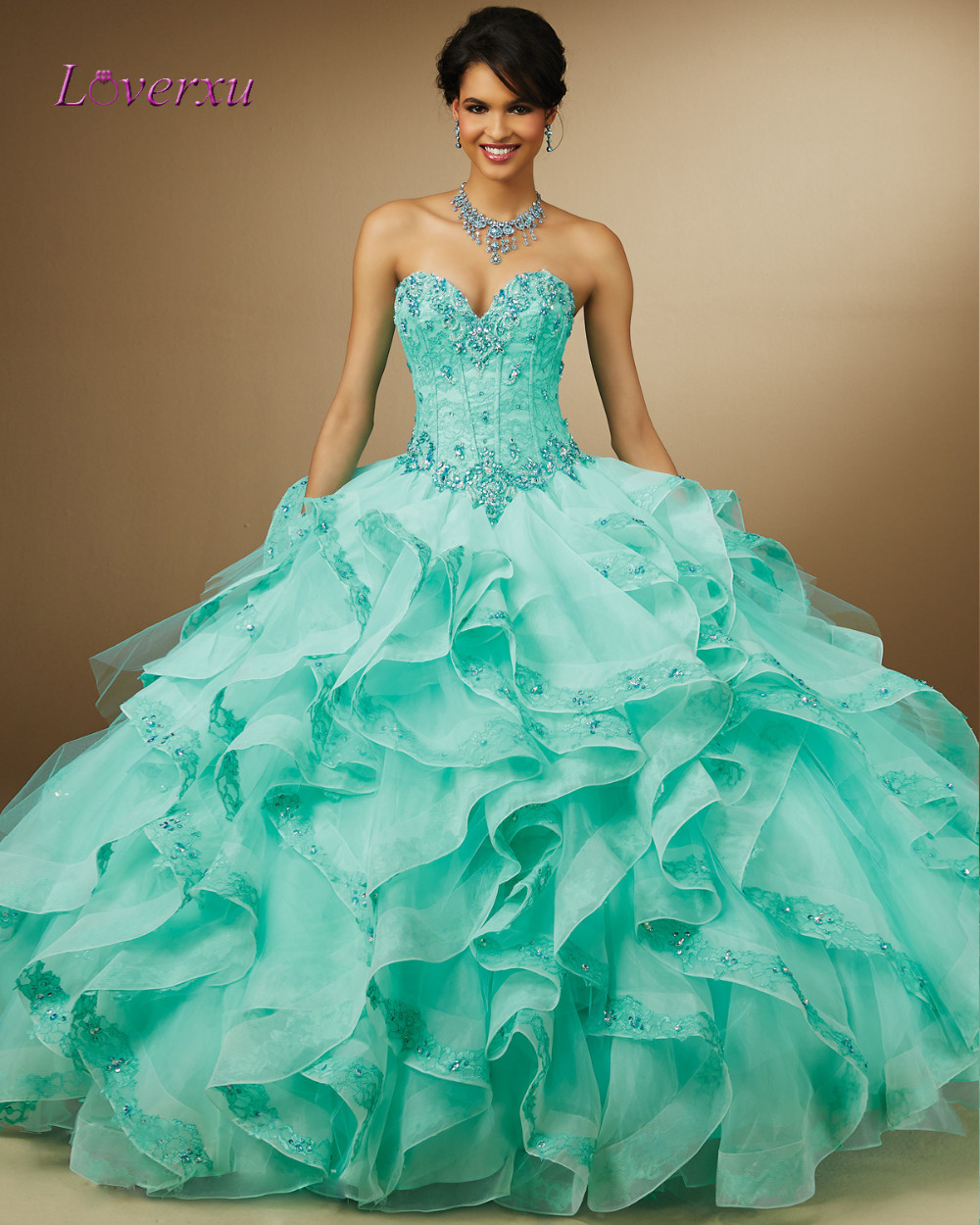 937fc119e2 Loverxu Elegant Sweetheart Green Ruffles Ball Gown Quinceanera Gowns ...