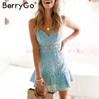 BerryGo Strap Summer Style Lace Dress Women Hollow Out Cotton Casual Dress Party Embroidery Backless Short