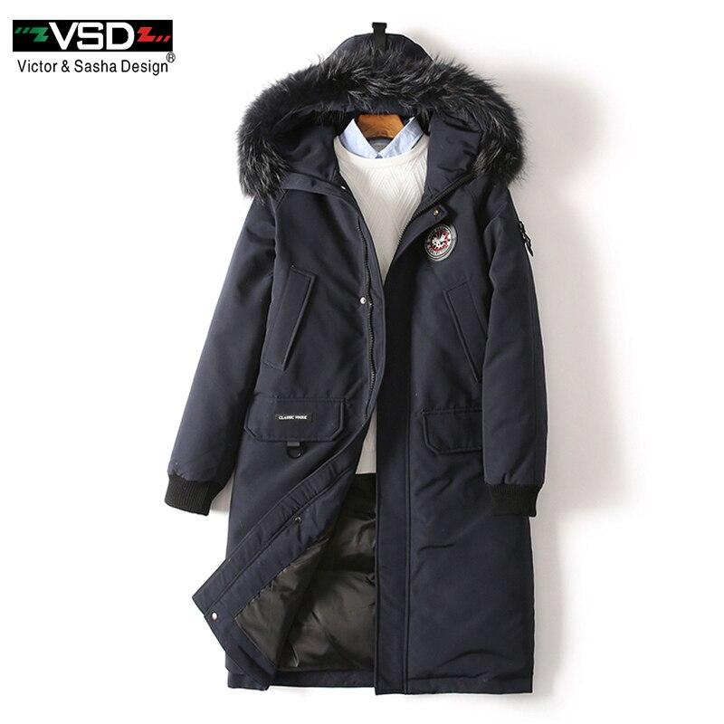 VSD D'hiver Duvet de Canard Veste Plus Réel De Fourrure de Manteau Hommes Vêtements Casual Vestes De Mode Canada Style de Haute Qualité parkas VS1877