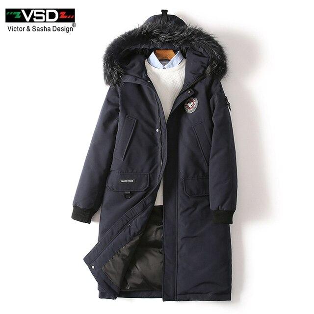 VSD зимняя куртка на утином пуху больше натуральным мехом пальто Мужская мода Канада Стиль одежда высокого качества повседневные куртки парки VS1877