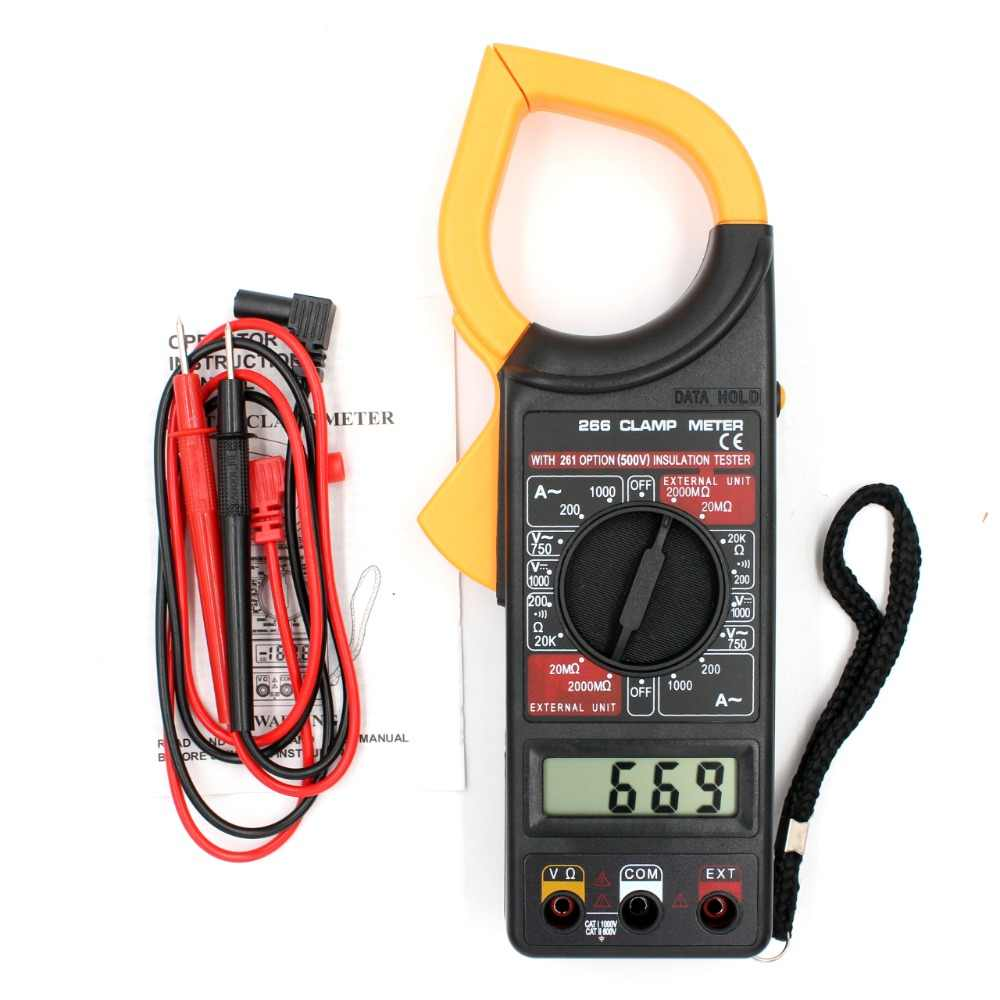 MLH-MLH DT266 Digital Current Clamp Meter Buzzer Data Hold Non-Contact Multimeter Voltmeter Ohmmeter Ammeter Ohmmeter Volt AC DC Meter Digital Clamp