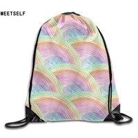 3D Print Image Rainbow Patterns Shoulders Bag Women Fabric Backpack Girls Beam Port Drawstring Travel Shoes