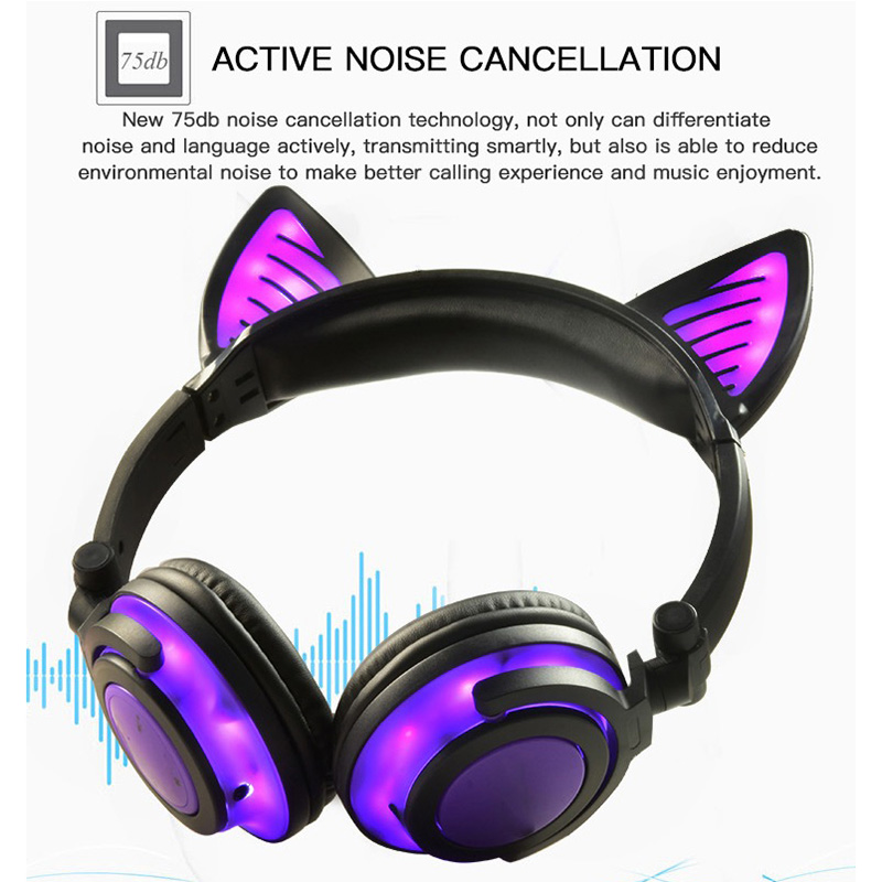 Bluetooth Earphone Cat Ear Wireless Headphones microphone Flashing Glowing Headset With LED Light For PC Laptop Adult Kid fashion cat ear headphones led ear headphone cats earphone flashing glowing headset gaming earphones gifts for adult child girls