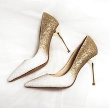 Female wedding dress shoes Gold rose woman high heels bride slip-on sexy  pumps bling fcd7aab98baa