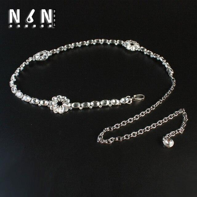 Fashionable waist chain silver crystal flower girl joker deserve to act the role of waist belt summer dress H609
