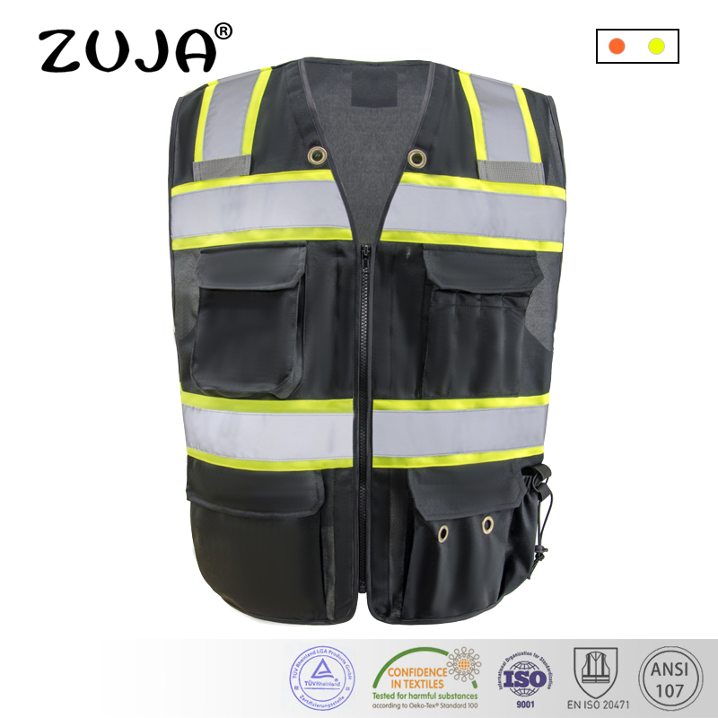 Reflective/safety/traffic Black /Hi-vis Yellow Warning Workwear/vest Multi Pockets