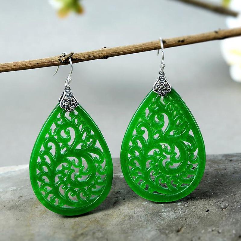 Ruifan Vintage Hollow Green Jade Earrings for Women 925 Sterling Silver Big Drop Hanging Earrings Silver