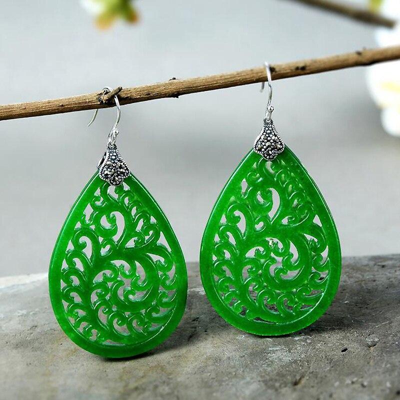 все цены на Ruifan Vintage Hollow Green Jade Earrings for Women 925 Sterling Silver Big Drop Hanging Earrings Silver 925 Jewelry Gift YEA230