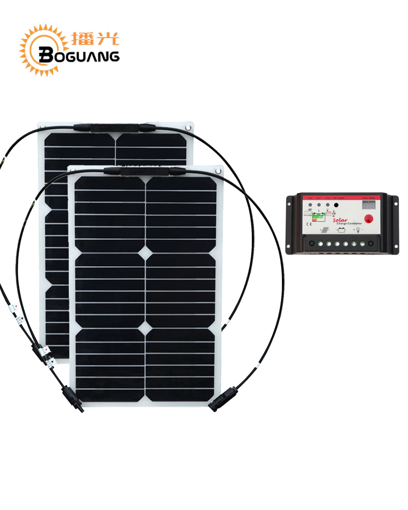 Boguang 18w flexible solar panel 36w Solar Kit DIY RV Boat Kits Solar System  1x 10A solar controller MC4 connector junction box solarparts 100w diy rv marine kits solar system1x100w flexible solar panel 12v 1 x10a 12v 24v solar controller set cables cheap