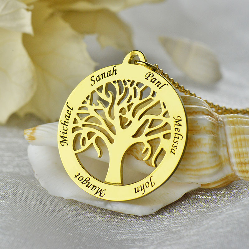 birth mother tree stone necklace personalized product name hugerect family