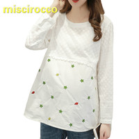 Maternity Clothings Pregnant Women Blouses Women's Long sleeved Big Size Embroidery Lace Blouse Loose Cotton Embroidery Tops